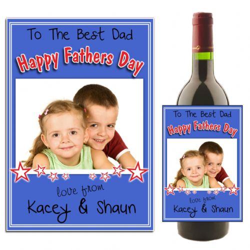 Personalised Happy Fathers Day Wine / Champagne Bottle PHOTO Label N26